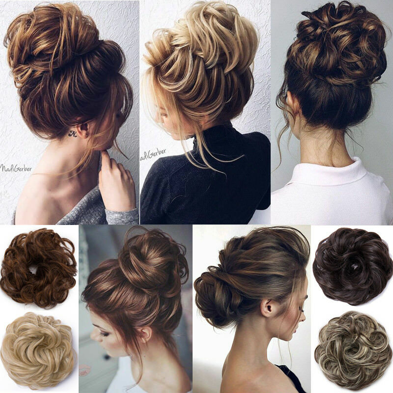BENEHAIR Messy Bun Scrunchy Hair Bun Fake Hair Synthetic Women Chignon Elastic Hair Band Hairpieces For WomenUpdo Donut Chignon 34
