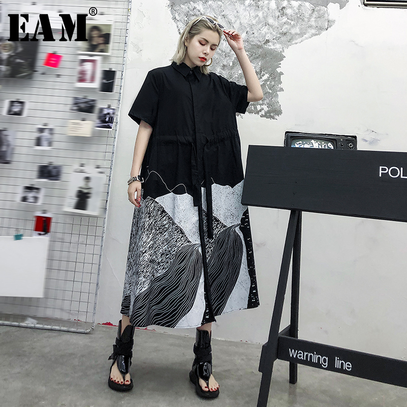 [EAM] Women Pattern Printed Drawstring Big Size Shirt Dress New Lapel Half Sleeve Loose Fit Fashion Spring Autumn 2020 1T170