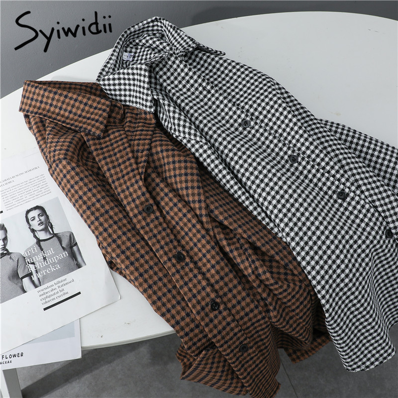 Syiwidii Houndstooth Shirts Women Tops Korean Fashion Long Sleeve Button Up Plaid Turn down Collar Casual Blouses Cotton 2021|Blouses & Shirts| - AliExpress