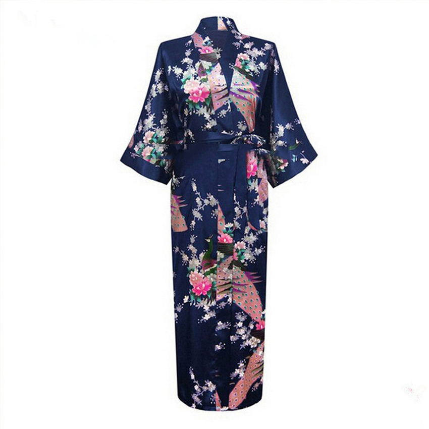 Sexy Bride Bridesmaid Wedding Dressing Woman Japanese Kimono Dress Peacock Print Satin Silk Yukata Bathing Robe Nightgown