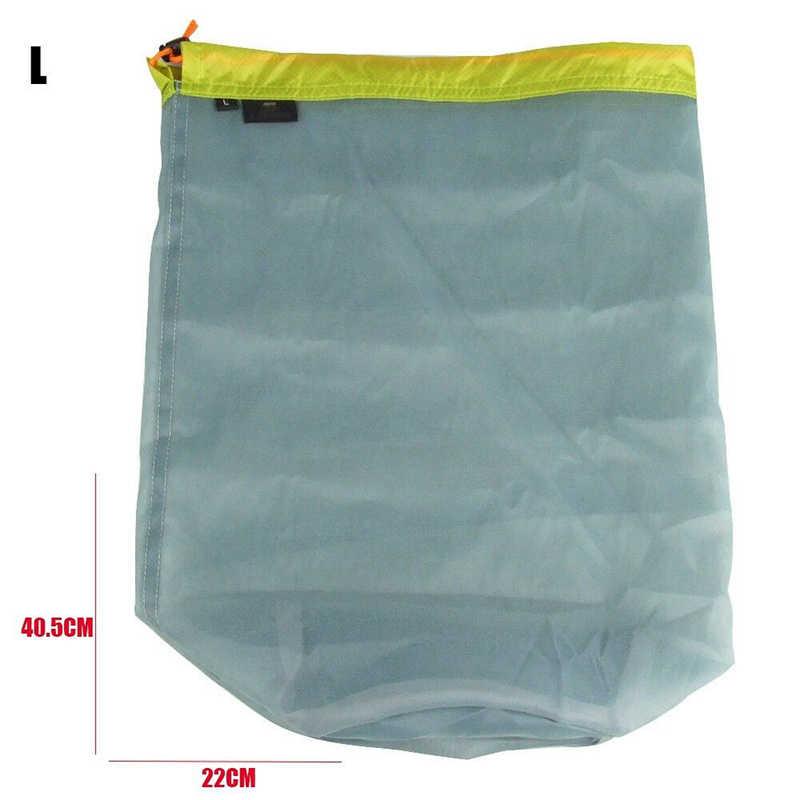 Ultralight Mesh rzeczy worek sznurkowy worek do przechowywania podróży Camping piesze wycieczki sport duża pojemność trekking do biegania na świeżym powietrzu