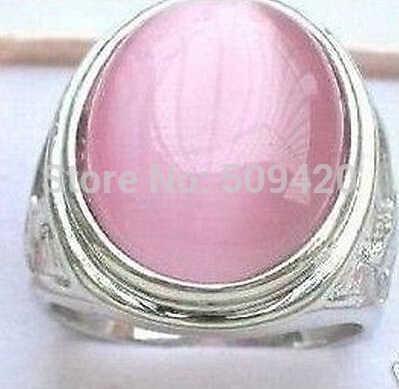 จัดส่งฟรี ABeautiful ทิเบตเงินสีชมพูแหวนหยกขนาด 8-11 #