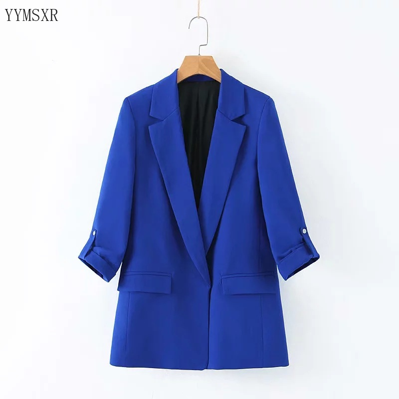 Casual Temperament Women's Jacket Feminine 2020 Korean Version Of The New Fashion Curled Sleeves Ladies Blue Blazer