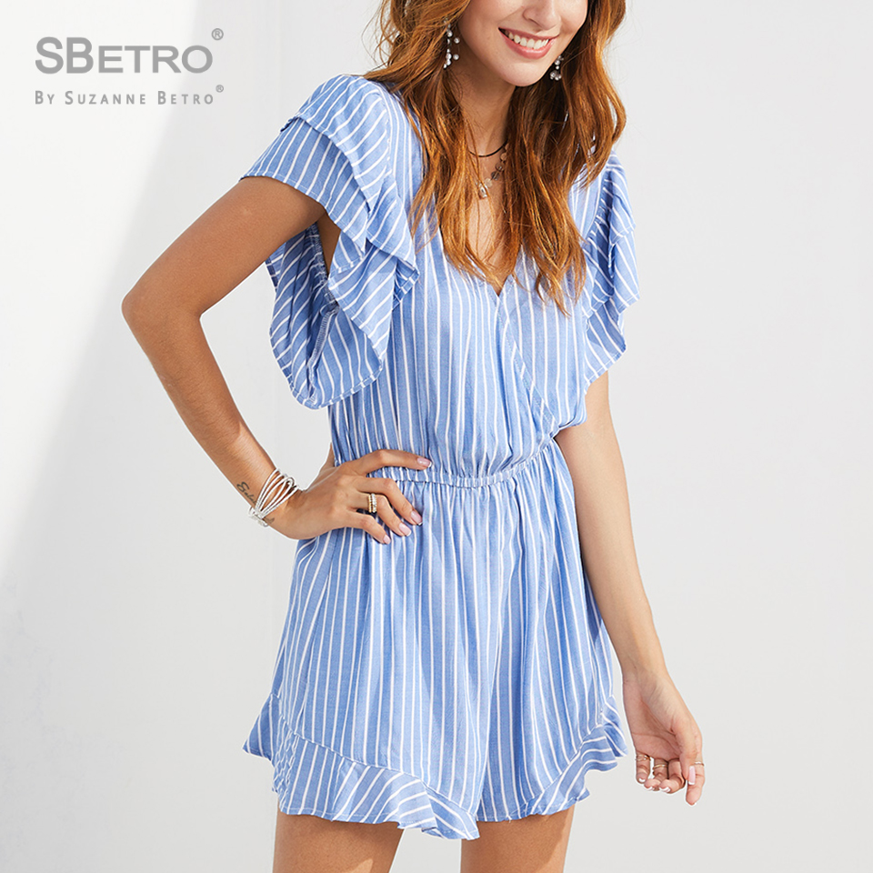 SBetro Striped Ruffle Trim Tie Back Romper Womens Jumpsuit Beach Vacation Short Sleeve Sexy Jumpsuit Summer Playsuit