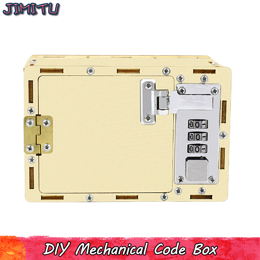 Mechanical Code Box Model Kits Toys Wooden Creative Combination Lock Box Experiment Assembly Models Puzzle Toy Handmade Kits