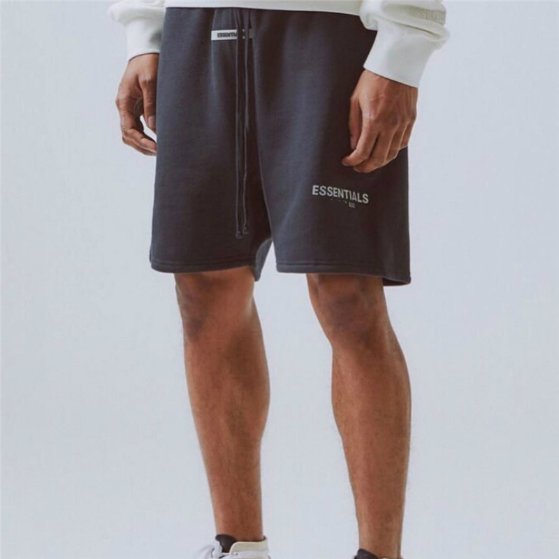 High Quality Loose Fleece Sweat Shorts Justin Bieber Streetwear Embroidered/Reflective Letter Rubberized Patch At Front