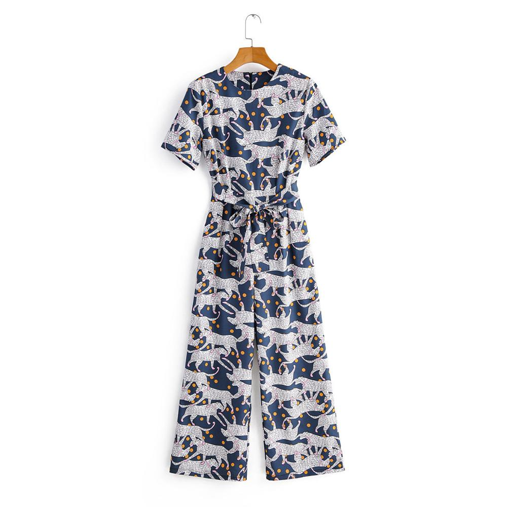 2020 New Women Animal Print Casual Jumpsuits Ladies O Neck Short Sleeve Bow Tied Sashes Wide Leg Pants Chic Pockets Siamese P605