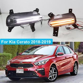 цена на 2PCS LED Daytime Running Light For Kia K3 Cerato 2018 2019 2020 Flowing Turn Signal Relay 12V Car DRL Fog Lamp Decoration
