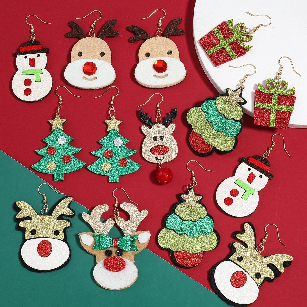 Pauli Manfi модные массивные рождественские серьги в виде снеговика, лося, тростника, женские милые Мультяшные рождественские украшения, аксесс...