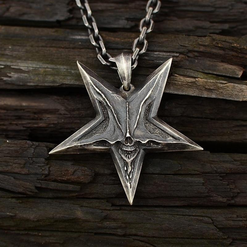 Винтажное мужское ожерелье s Satanic с изображением перевернутой пентаграммы, Череп, Кулон, Ожерелье для мужчин, панк, демон, хаос, звезда, Череп, ожерелье, Baphomet, ювелирное изделие