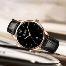 Rose Gold 2019 Fashion Black Leather Band Watches Men Luxury Top Brand Sports Waterproof Quartz Mens Watch Clock