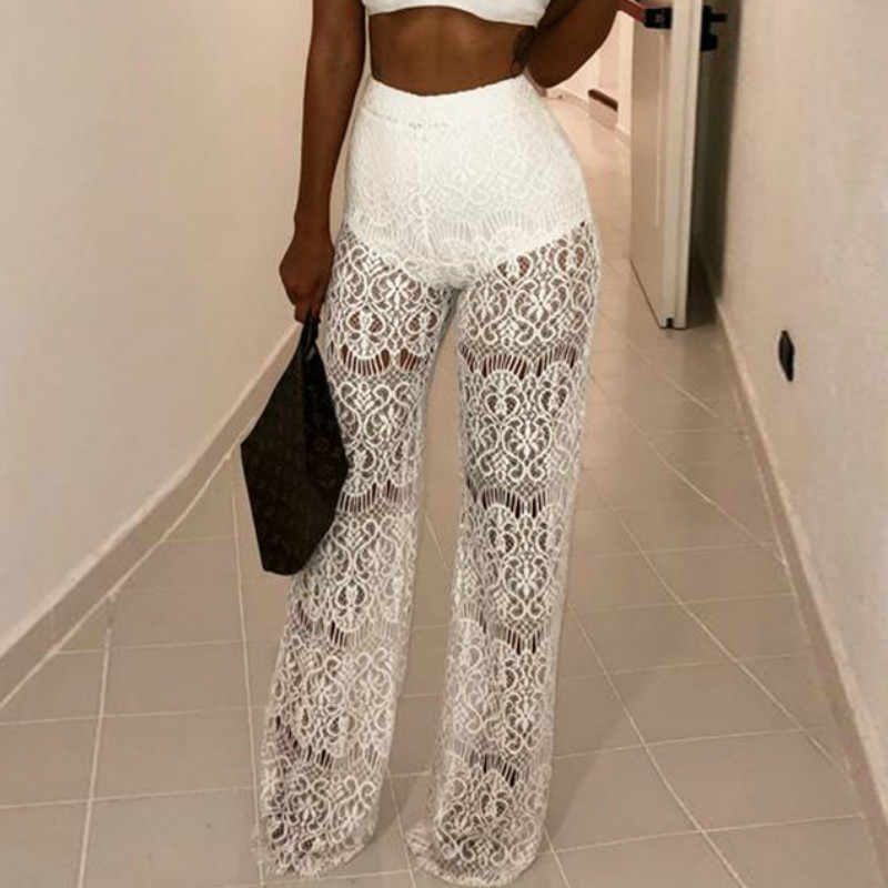 Lace Sexy Women Pansts Wide Leg Female Solid Black Trousers Lace Patchwork White Pants Lady Party Night Club Pants Winter B018