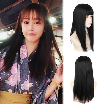 AIYEE Synthetic Hair Hand-made Natural Black Topper Hairpiece with Bangs Hair Piece  Piece Toupee Straight Hair jinkaili top piece closure toupee black brown top natural straight hair female hear resistant synthetic hair piece women