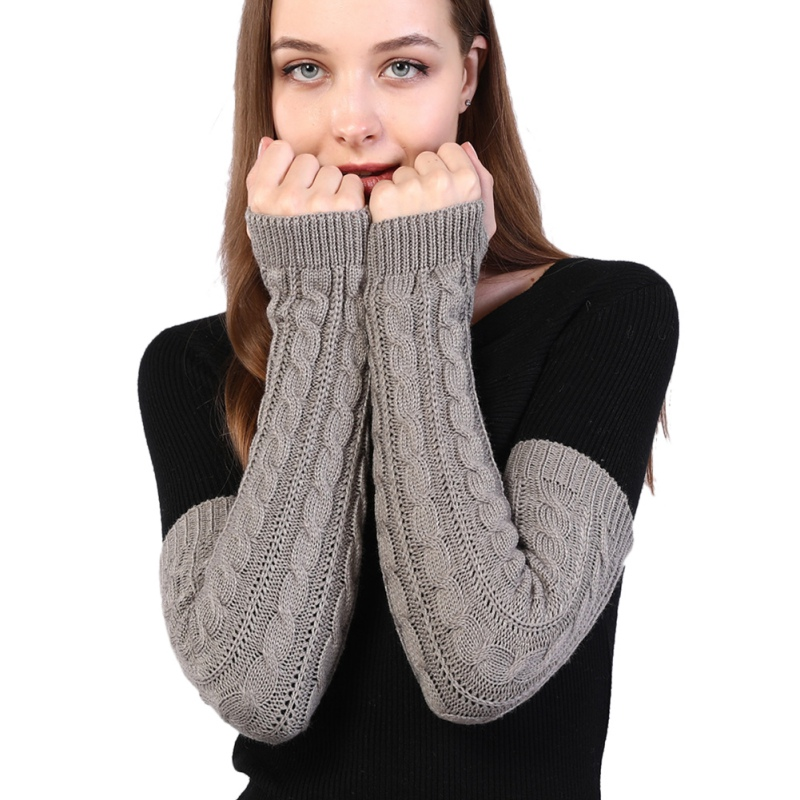Women Winter Arm Warmers Fingerless Long Gloves Solid Color Warm Elbow Mittens Knitted Sleeves Twist Pattern Gloves