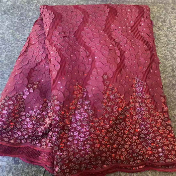 African Sequence Fabrics pink for Bridal Materials Lace High Quality Sequins Lace Fabric Nigerian Mesh Net Lace Sequins Fabric