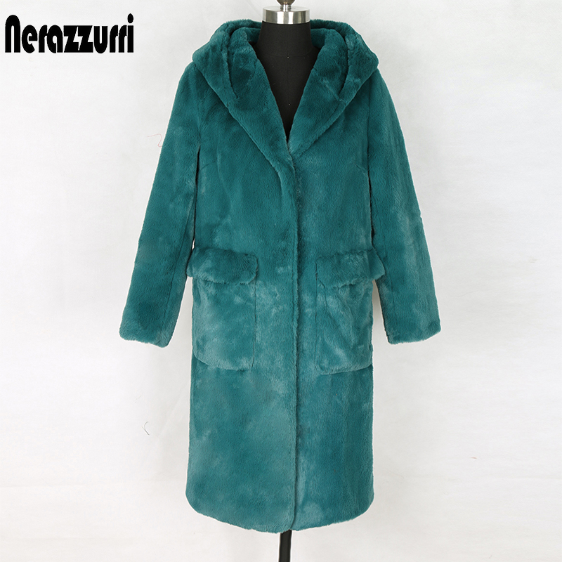 Nerazzurri Long Hooded Faux Fur Coat With Pockets Soft Plus Size Parka Women Autumn Winter Womens Fake Fur Jacket Zipper Hoodies
