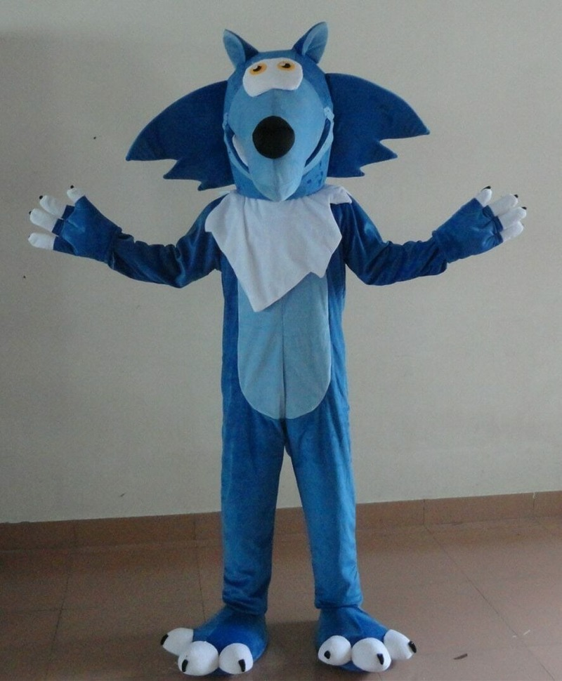 Blue Wolf Mascot Costume Suits Cosplay Party Game Dress Apparel Cartoon Character Birthday Clothes Carnival Halloween Xmas Adult