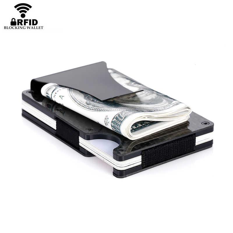 2020 neue Mode Dünne Kohlenstoff Faser Kreditkarte Halter RFID Nicht-scan Metall Geldbörse Männlichen Carteira Masculina Mini geld Clip
