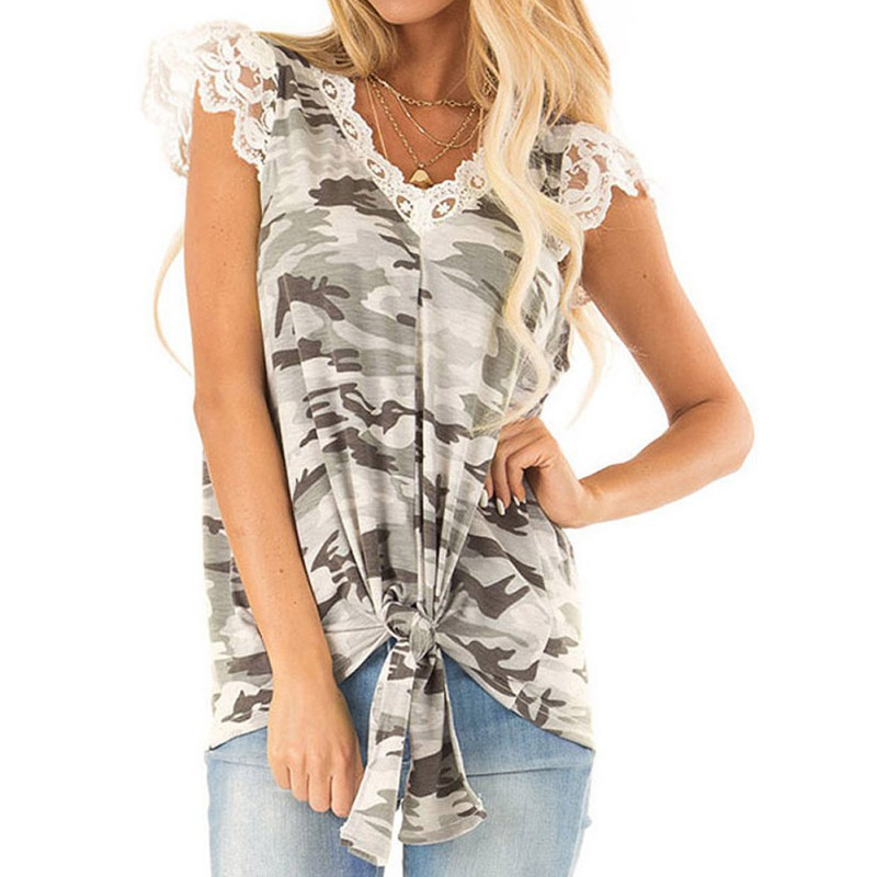 Women Sweet Spring Summer Sleeveless Lace V-Neck T-shirt Camouflage Tied Bow Casual Beach Tops