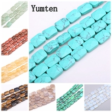 Yumten Square Turquoise Beads 8mm*12mm Section Bead Natural Agate Malachite Topaz Red Jasper Jewelry DIY Necklace Hand Made