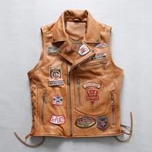 2020 New Men Rock Cow Leatehr Vest Jacket Punk Multi Labeling Cowhide Motorcycle Vests M-4XL(China)