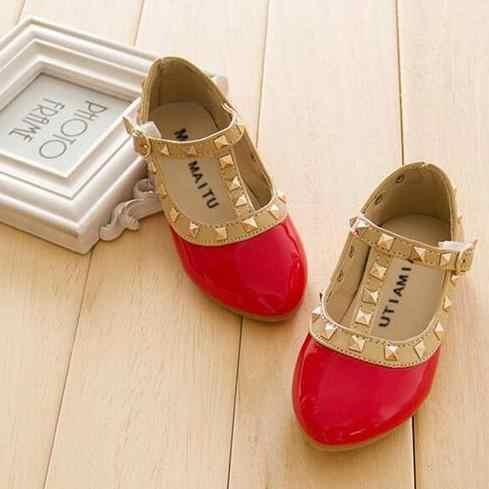 Moda 2019, zapatos de princesa para niñas, mocasines casuales de cuero PU para niños, mocasines de bebé de moda mary jean, sandalias con remaches