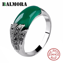 BALMORA 1 Piece 925 Sterling Silver Chalcedony Open Stacking Wedding Ring for Women Lover Mother Vintage Fashion Jewelry Anillos