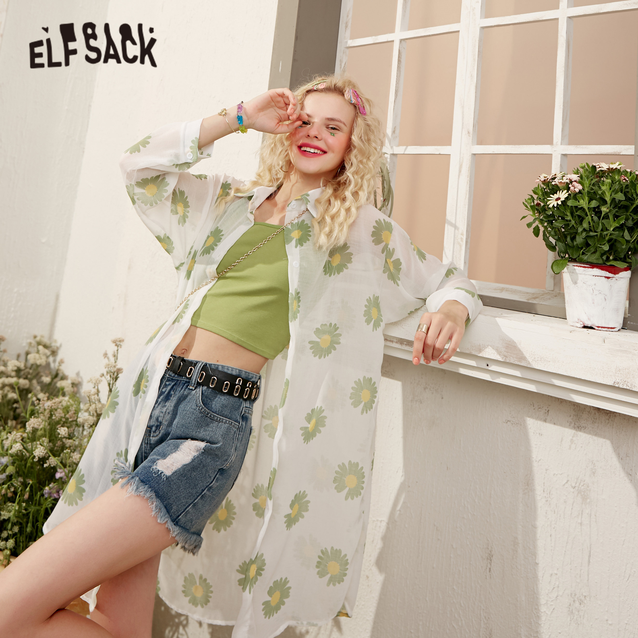 ELFSACK Green Daisy Flowers Casual See-Through Shirts Women 2020 Summer ELF Orange Long Sleeve Korean Ladeis Daily White Tops