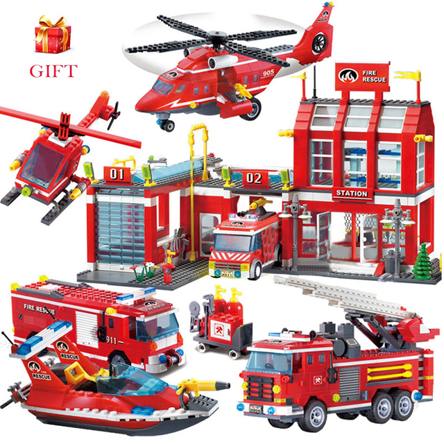City Fire station Building Blocks Truck Helicopter boat car firefighter Bricks Assembled DIY Educational Toys For