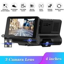 Three-lens driving recorder wide-angle 1080P three-recording driving recorder Dash Cam HD recorder Vehicle Camera Accessories