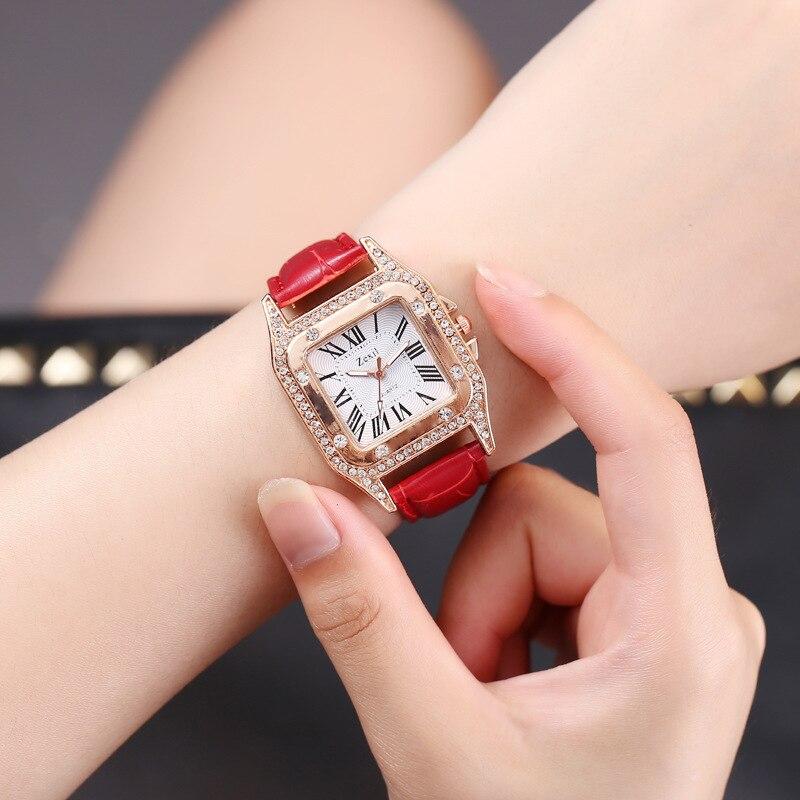 High-end Fashion Square Diamond Ladies Belt Watch Simple Roman Digital Rhinestone Shi Ying Women's WatchMs 2019 Watch