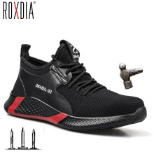 ROXDIA brand plus size 36-48 men safety shoes with steel toe cap fashion women work boots sneakers casual male shoes RXM173