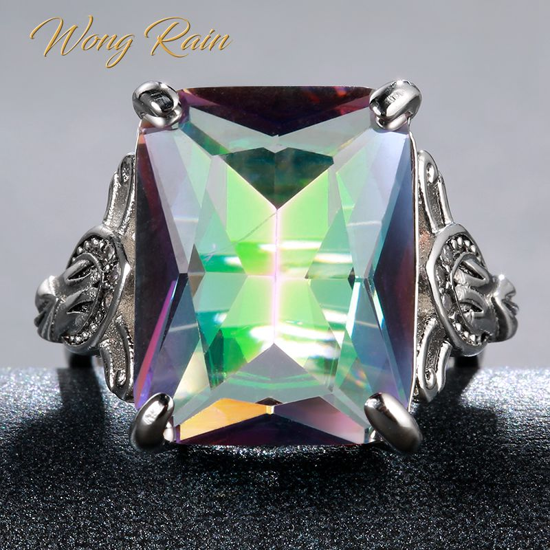 Wong Rain Vintage 100% 925 Sterling Silver Huge Mystic Rainbow Topaz Gemstone Wedding Engagement Ring Fine Jewelry Wholesale
