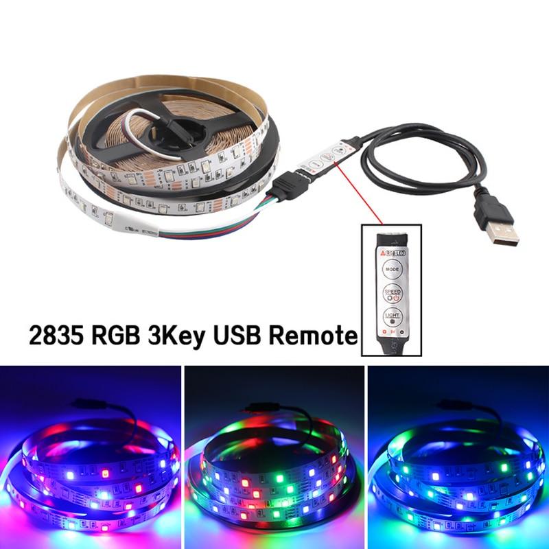 Светодиодная лента RGB с USB, 5 В, не водонепроницаемая, 5 В, Светодиодная лента, светильник для подсветки телевизора, 2835, 50-5 м, с пультом ДУ RGB, 3 кл...
