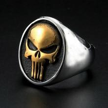 Ouro dos homens/prata cor de aço inoxidável punisher crânio anéis legal crânio signet anel masculino punk gótico anel festa de natal presente