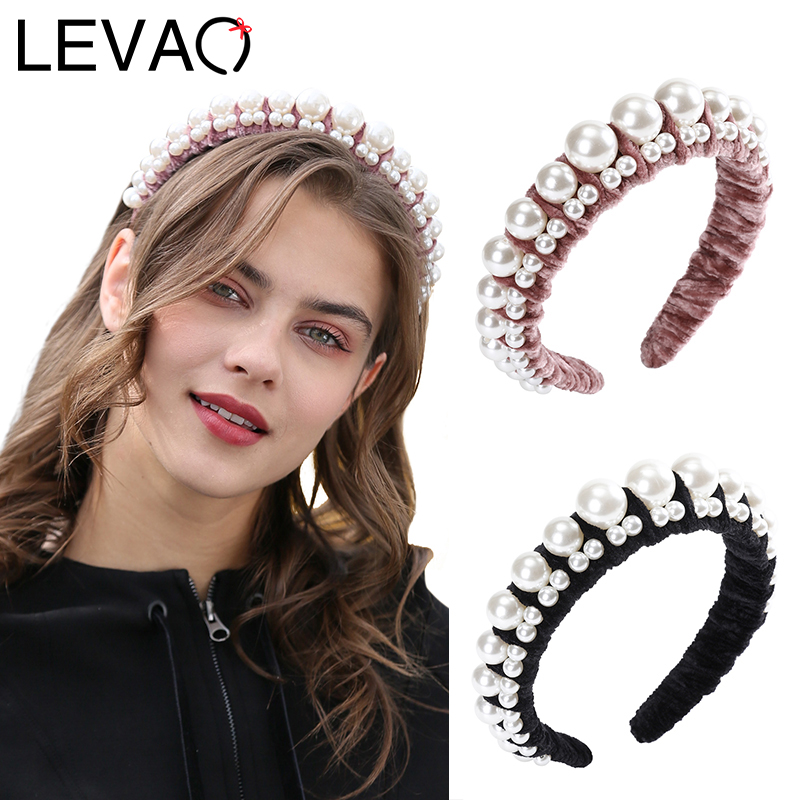 LEVAO Female Pearl Winding Headband Bezel Turban Women Novelly Hairbands Velvet Girls Hair Accessories Headwear Head Hoop Solid