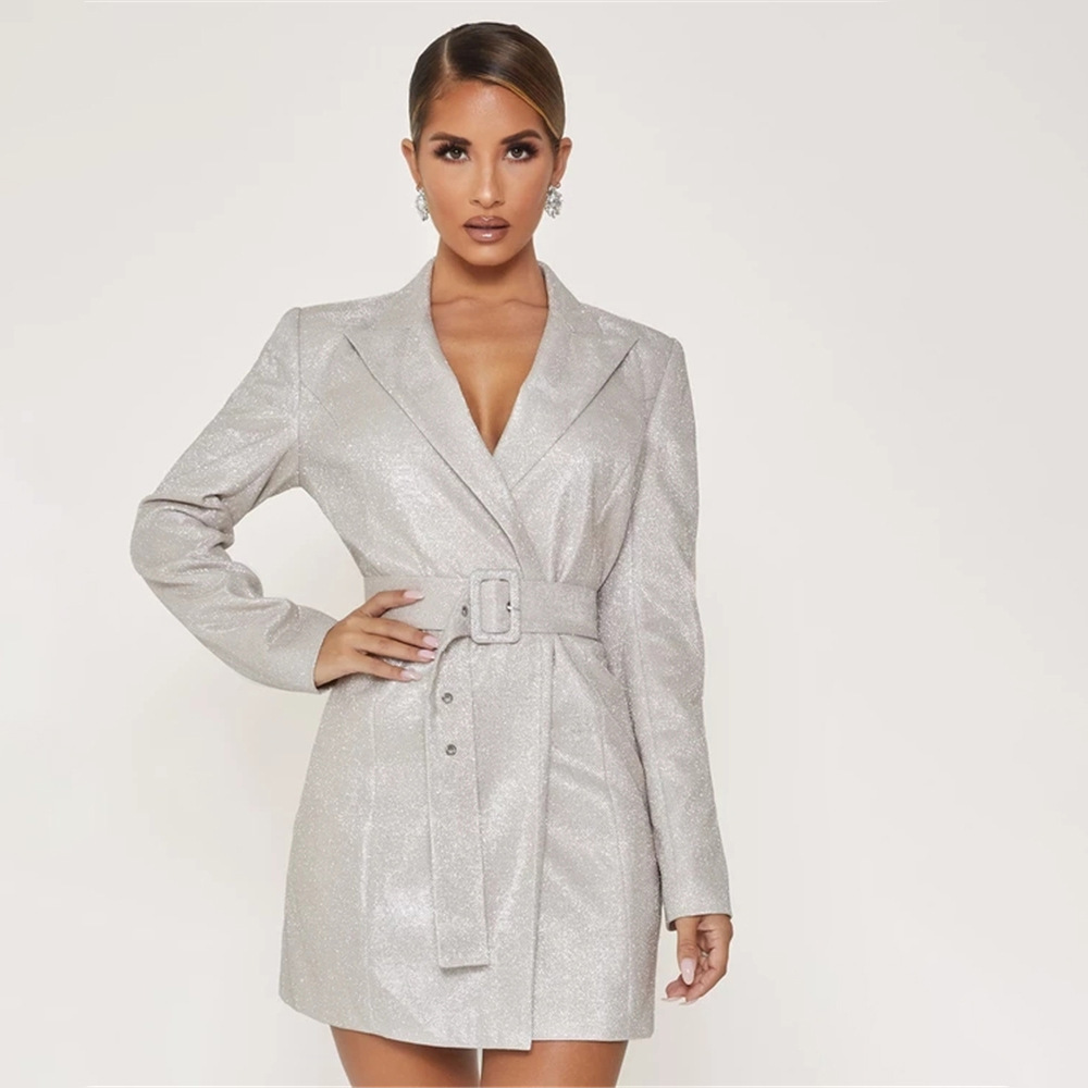 Silver Sequin Suit Sexy V-neck Low Waistband Slim Woman Jacket Solid Full Bodycon Work Formal Mini Dress Women Jacket Female
