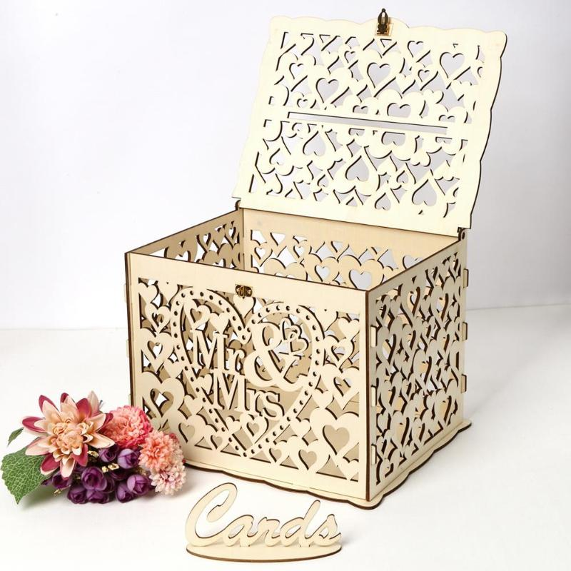 Wedding Card Wood Box Gift Case Money Post Box DIY Wedding Birthday Gift Party Card Holder Container Party Supplies