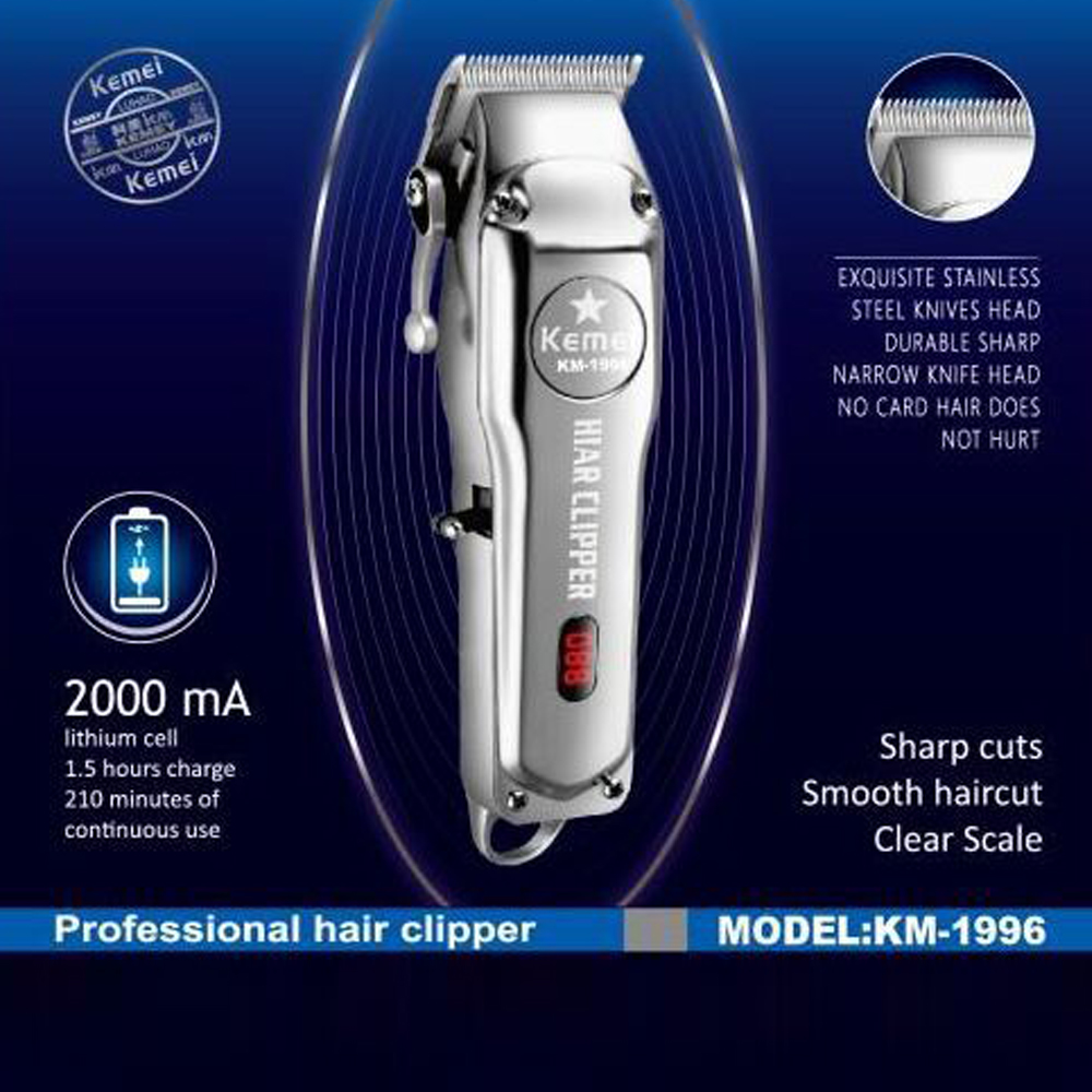 Kemei-1996 Barber Shop Rechargeable Hair Clipper All Metal Electric Hair Trimmer Men Professional Be