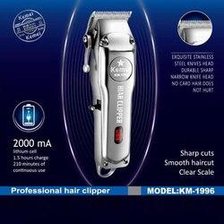 Kemei 1996 do salonu fryzjerskiego akumulator maszynka do włosów wszystkie metalowe elektryczna maszynka do włosów mężczyzn profesjonalny trymer do brody maszynka do strzyżenia w Trymery do włosów od AGD na