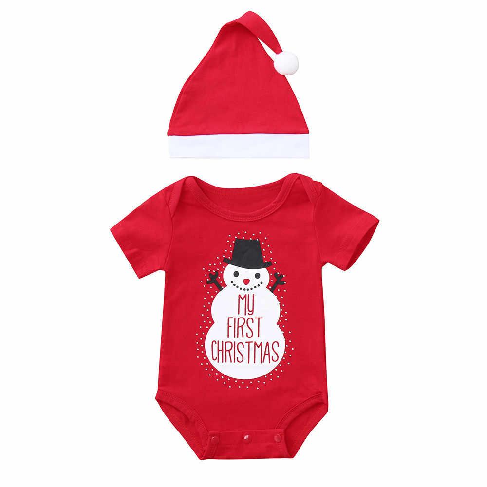 Рождественский костюм для новорожденных из 2 предметов; комбинезон с рисунком из мультфильма «Мой первый Рождественский Снеговик»; шапка с принтом; зимняя одежда для малышей; комбинезон