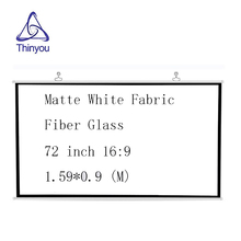 Thinyou projector screen 72 inch 16:9 Matte White Fabric Fiber Glass Wall Mounted high-definition for DLP LCD LED Projector