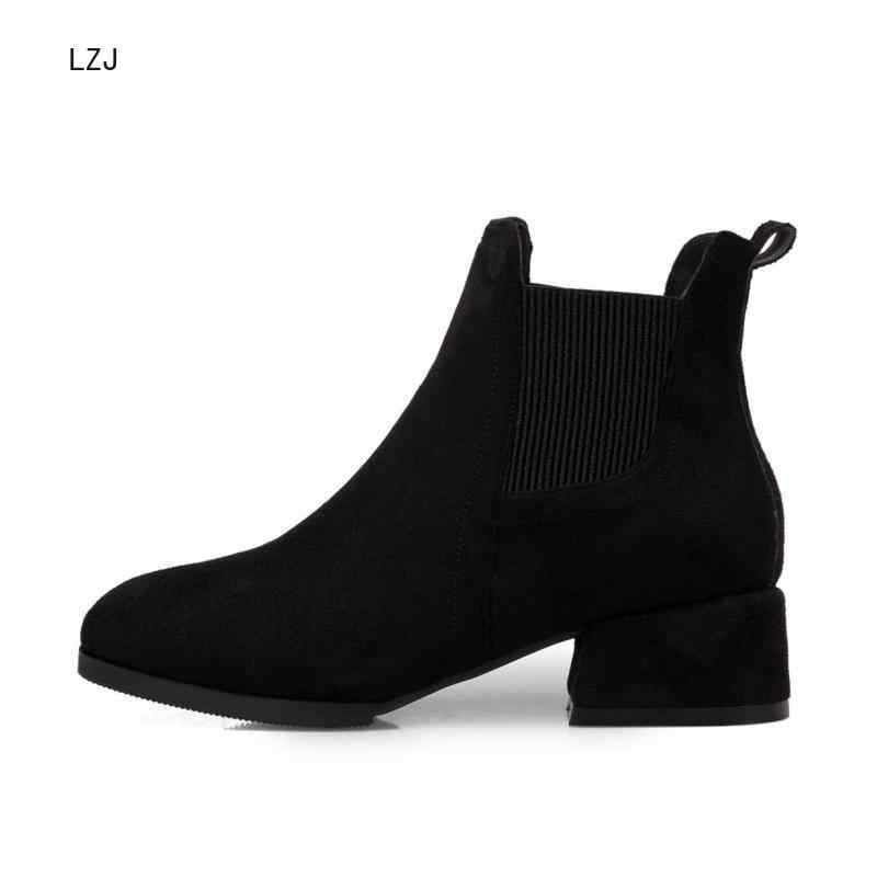 2019 Otoño Invierno botas mujer Camel negro para mujer tacón grueso Slip On Ladies Shoes Bota Feminina 35-43 calcetín negro botines