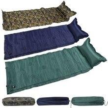 цены New Sleeping Bed Camping Roll Mat Self Inflating Inflatable Pillow Air Mattress Bag Camping Pad Picnic Beach Mat Sand Mat Z25