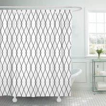 Cortina de ducha abstracta monocromática de Harlequin geométrico Vintage con patrón de diamantes grises, tela de poliéster impermeable de 60x72 pulgadas