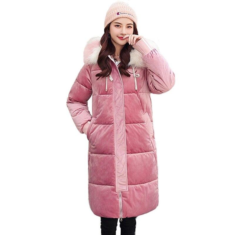 2019 nueva Parkas de invierno para mujer, Chaqueta de algodón de terciopelo dorado, abrigo de invierno con capucha y Cuello de piel para mujer, talla grande g586