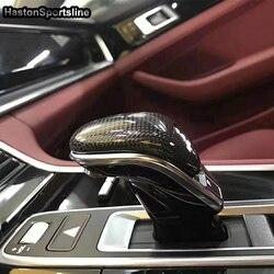 Wnętrze z włókna węglowego Shifter główka drążka zmiany biegów dla Panamera 2017 2018 2019 2020 Auto stylizacji w Zestawy karoserii od Samochody i motocykle na