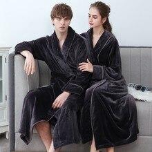 Плюс Размер 3XL Мужчины Халат Зима Фланель Мягкое Кимоно Платье Для влюбленных Ультра Большой Длинный Халат Пижамы Плотные Теплые Женские Пижамы