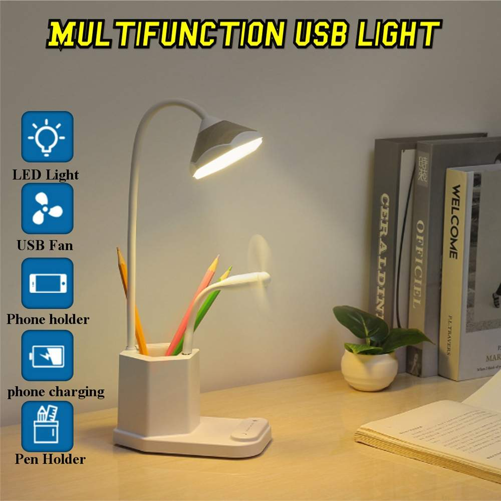 Rechargeable USB LED Lamp Dimmable WHT Warm//Cold Light f//Desk//Side Table Reading
