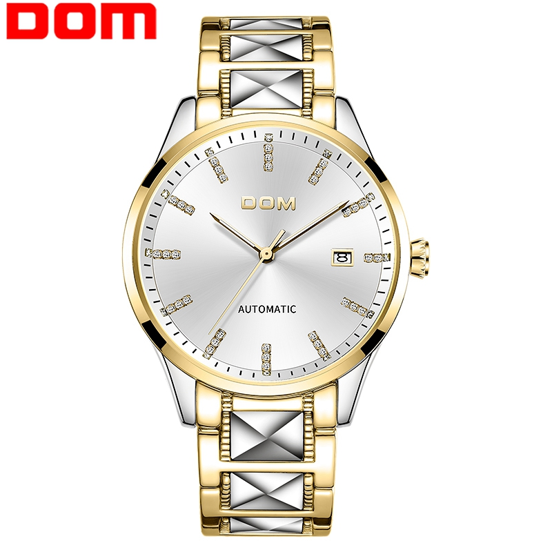 DOM Men Automatic Mechanical Watch Gold Color Vintage Watch Mens 30M Waterproof Watch Top Brand Luxury  Men Clock  watch gold